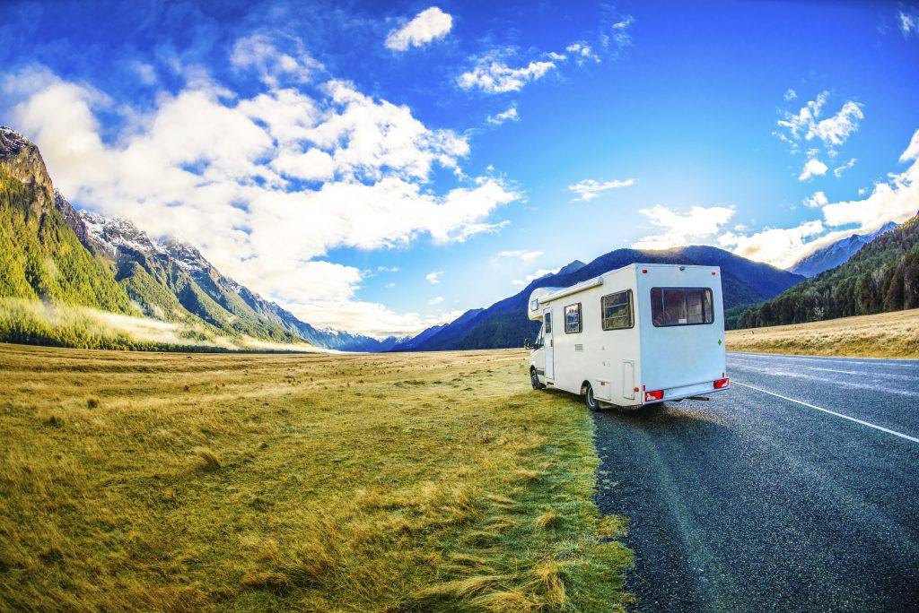Tourist motorhome on the roadside in New Zealand's mountainous South Island